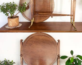 """ON HOLD - Antique Occasional Table with Brass Claw Feet. Round Walnut Folding """"Conver-Table"""" Game Table / Serving Table / Side Table."""