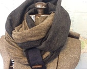 HEATHER TAUPE and CHARCOAL infinity scarf - reversible, multiple styling options. Grey and tan sweater knits, denim and button accent.