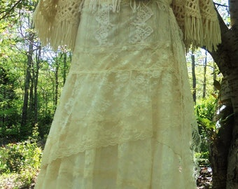 Crochet Lace dress wedding cream ivory  romantic boho outdoor fairytale small by vintage opulence on Etsy