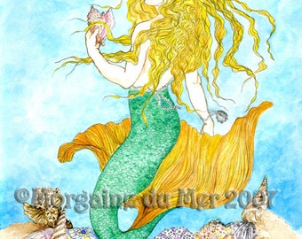 Blonde Mermaid and Her Shell Collection Fantasy Art Print Ink and Watercolour Illustration Beach House Seaside Cottage Bathroom Decor