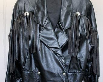 Vintage Women's Black Leather Crop Jacket with Fringe Retro Biker Moto Size Small Snap Waist Metal Concha Decorations Ladies' 1980s Rocker