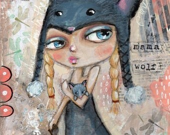 Big eyed girl, Wolf, Quirky girl, Mixed Media Painting , Childrens Art, Original painting, Whimsical Girl, Home decor, OOAK,