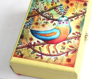 Robin Redbreast Large Size Wood Box, Whimsical Art Jewelry Trinket Box, Bluebird in Tree, Decoupage, Yellow Green