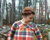 long sleeve plaid flannel smock dress -- made to order