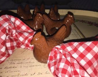Brown Chicken Napkin Ring Holders