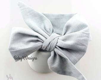 Newborn Head Wrap GRAY Baby Headwrap.Headband Bow Infant Toddler Girl Cotton DIY Headband Big Bow Turban Dress Sash Big head band messy bow