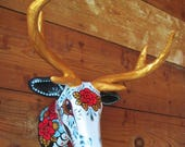 Day of the Dead DEER BUST Head Antlers Paper Mache Wall Hanging Folk Art