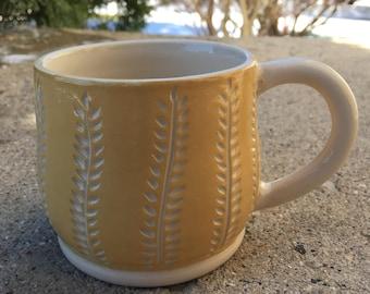 Ceramic Mug - Carved Pottery Mug - Handmade Ceramics and Pottery - Yellow