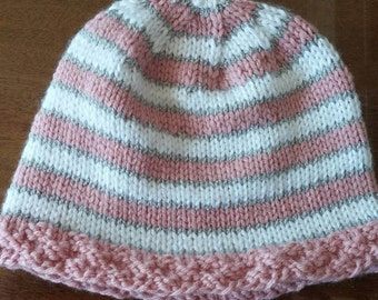 Striped infant hat in pink