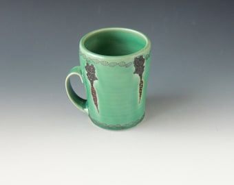 Clay Carrot Mug- green ceramic porcelain cup with carrots and DNA decals - wheel thrown handmade pottery