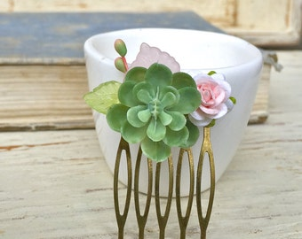 Succulent flower hair comb,small flower hair comb,wedding bridal,succulent wedding. Tiedupmemories