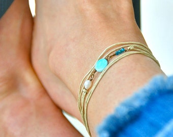 Opal anklet,beach anklet, string anklet,freshwater pearl anklet,anklet wrap,boho anklet,beaded anklet,string bracelet. Tiedupmemories