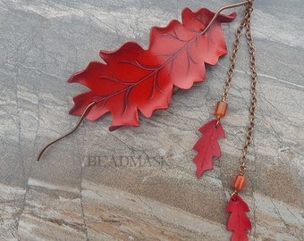 Red Oak Leather Hair Slide Or Barrette With Falling Leaf Dangles - Copper Wire Hairstick with Carnelian Agate and Leather Leaves
