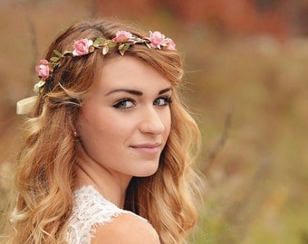 pink flower wedding crown - bridesmaid crown - rustic wedding crown - wedding flower crown - flower girl crown - pink rose flower crown