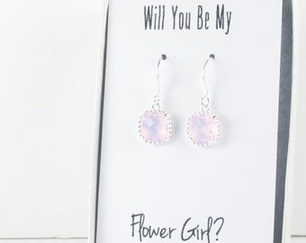Pink Opal Silver Earrings, Pink Opal Square Silver Earrings, Pink Silver Earrings, Bridesmaid Earrings, Bridesmaid Gift, Wedding Jewelry