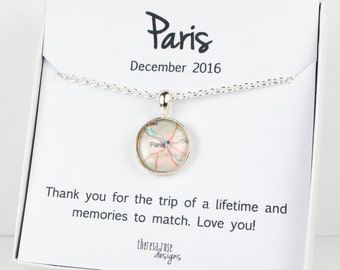 Custom Map Silver Necklace with Personalized Jewelry Card, Destination Necklace, Destination Jewelry, Custom Destination Jewelry