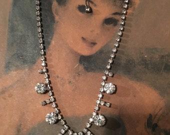 Rhinestone Choker Princess Necklace True Vintage