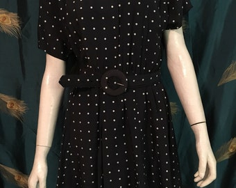 "1980's S.L. Petites Polka Dot Dress Navy White Tiered Flirty True Vintage Size Bust 40"" Waist 28"""