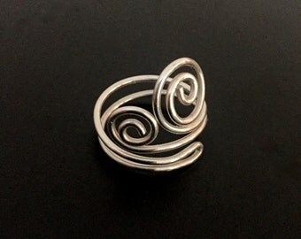 Sterling Silver Wire Spiral Ring - Silver Wire Ring - Ornate Sterling Swirl Ring - Gifts under 25 Dollars - 516003