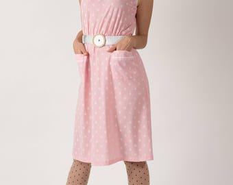 Vintage Light Pink Disc Print Dress (Size Medium)