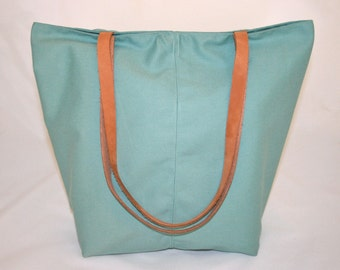 Tote Bag with Leather Straps in Turquoise