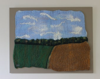 Spring Planting-Felted Wool Wall Hanging-Farm Scene
