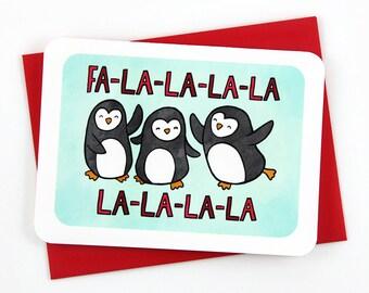 Fa-La-La Holiday Penguin Card - Holiday Notecard, Cute Christmas Card, Funny Christmas Card, Penguin Christmas Card, Winter Greetings
