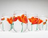 California Poppies Stemless Wine Glasses - Mothers Day Gift - Set of 4 Poppy Glasses, Poppy Wine Glasses, Poppy Glassware, Gift for Her