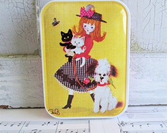 Vintage Retro Girl and Pets Blue Bird Confectionary Tin