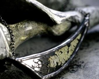terrarium necklace real lichen necklace asymmetrical necklace terrarium jewelry natural sea fan bib necklace stained glass LICHEN DART