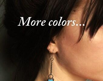 modern earrings triangle earrings geometric earrings minimalist earrings triangular long chain earrings stained glass ARROW EARRINGS