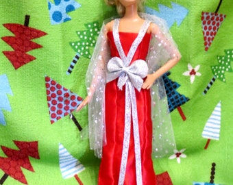 Barbie Party Dress, Barbie Clothes, Barbie Dress, Red, Silver, Long Dress, Handmade Barbie Clothes