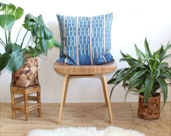 Baoule Indigo Pillow, 20 inch, Cotton Linen Pillow, 20x20, Rose Gold Zipper, African Geometric Pillow, Bohemian Decor, Mudcloth Ikat
