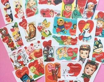 Valentines Stickers - Set of 28 - Handmade Stickers, Vintage Style, Vintage Valentines, Journal, Planner Stickers, Cute Valentines, Kitsch