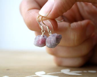 Raw Tourmaline Earrings . Pink Tourmaline Earrings . Semi Precious Gemstone Earrings . Rough Stone Jewelry - Rakkaus Collection NEW