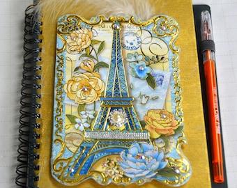 junk journal handmade / Golden Eiffel Tower / mixed media journal / travel journal /  Paris  / travel diary /  notebook /  smash book /