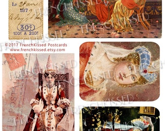 Renaissance Queens and Ladies Elizabeth Sonrel Original Handpainted Collage Digital 8x10 Page