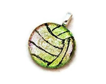Volleyball Necklace, Water Polo Ball Necklace, Volleyball Jewelry, Water Polo Jewelry, Dichroic Glass Jewelry, Athlete Gift, Gold Sport Ball