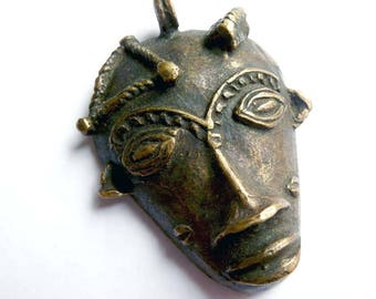 Vintage Baule Passport Mask from Africa, Handmade Lost Wax Mask Pendant from the Ivory Coast, Tribal Mask from Africa