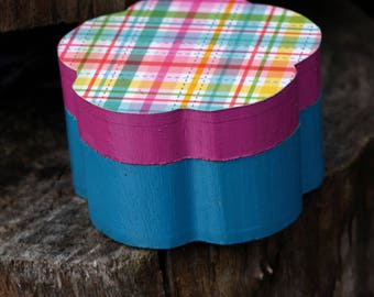 Pink and Blue Rainbow Plaid FlowerTrinket  Box