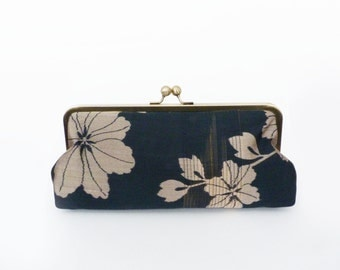 Clutch bag, slate grey and beige floral vintage Japanese kimono fabric, evening purse