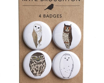 owl pinback button badges (set of four) - bird pins - wildlife / nature illustrated gift - barn owl , snowy owl