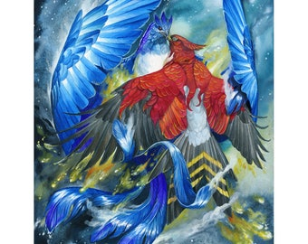 Fire and Ice - Fantasy Phoenix Ice Bird Print