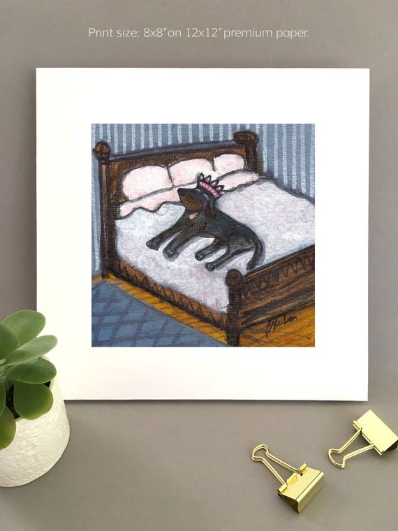 Dog on the Bed, big black dog art for my house, black lab sleeps in bed, rottweiler, chocolate lab, king of the bed, queen of the bed,