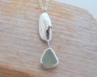 Land and Sea Sterling Silver Lobster Claw and Sea foam Sea Glass Necklace