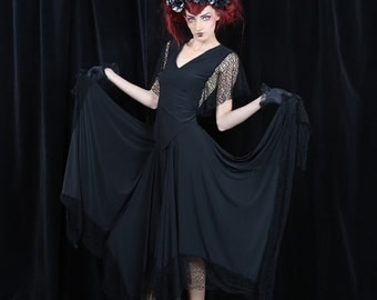 Spider's Web Gothic Circle Skirt with Cobweb Lace Detail