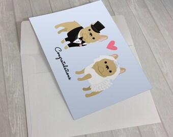 Wedding Card - Wedding French Bulldogs Greeting Card - Card for wedding - French Bulldog lover card - bride and groom French Bulldogs