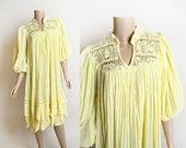 Vintage 1970s Gauze Dress - Lemon Yellow Boho Bohemian Style Crochet Back Lounge Gauzy Dress - Summer Pastel - Medium Large XL