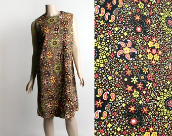 Vintage 1960s Psychedelic Tunic Dress - Cotton Shift Dress - Bright Neon Flower Power Design - Small Medium