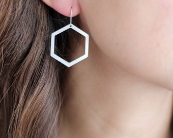 Geometric Hexagon Cutout Earrings - Brass | Stainless Steel | 14k Gold Filled | Sterling Silver